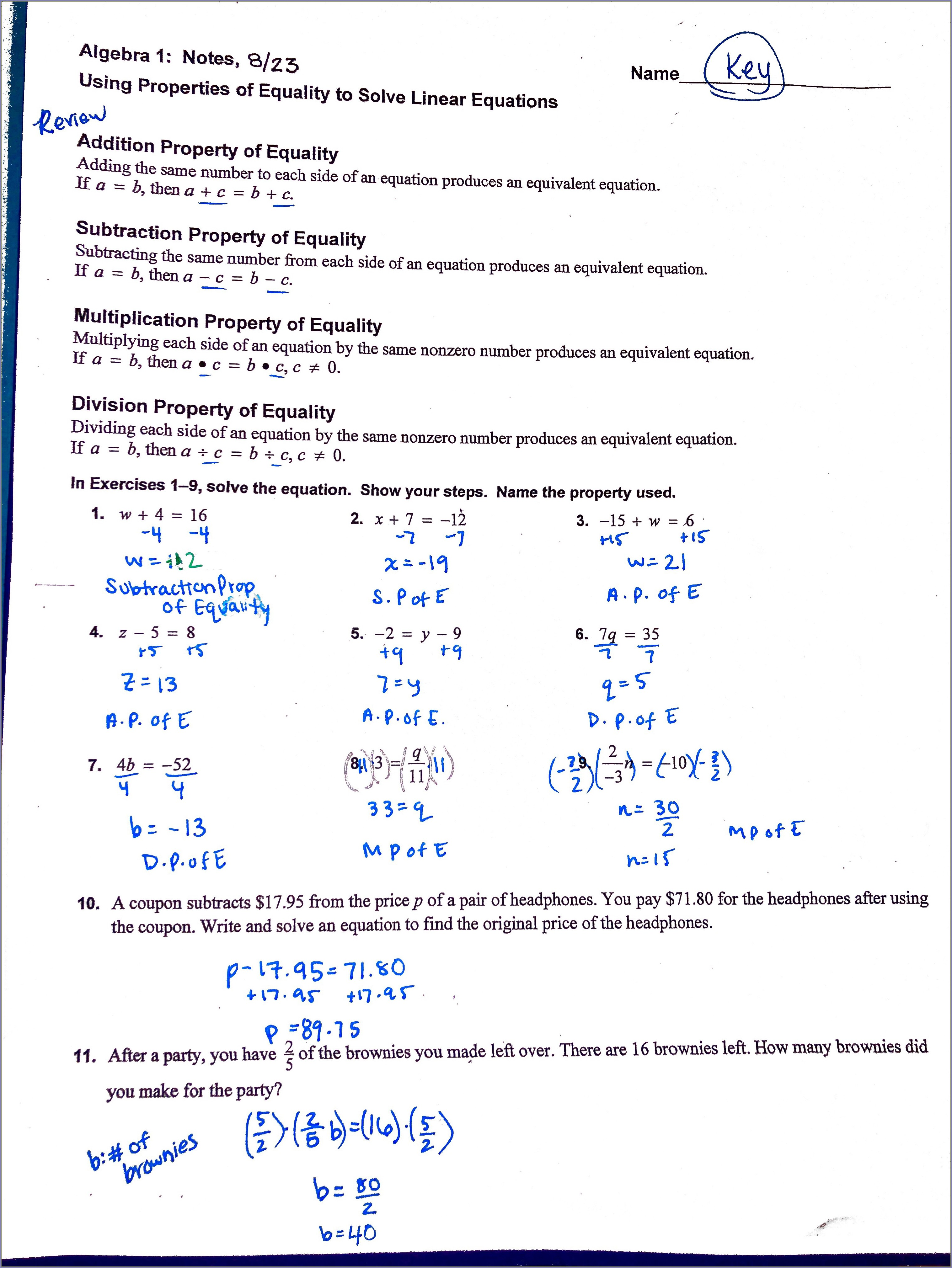 Pre Ap Algebra 2 Worksheet 7.5 Answers