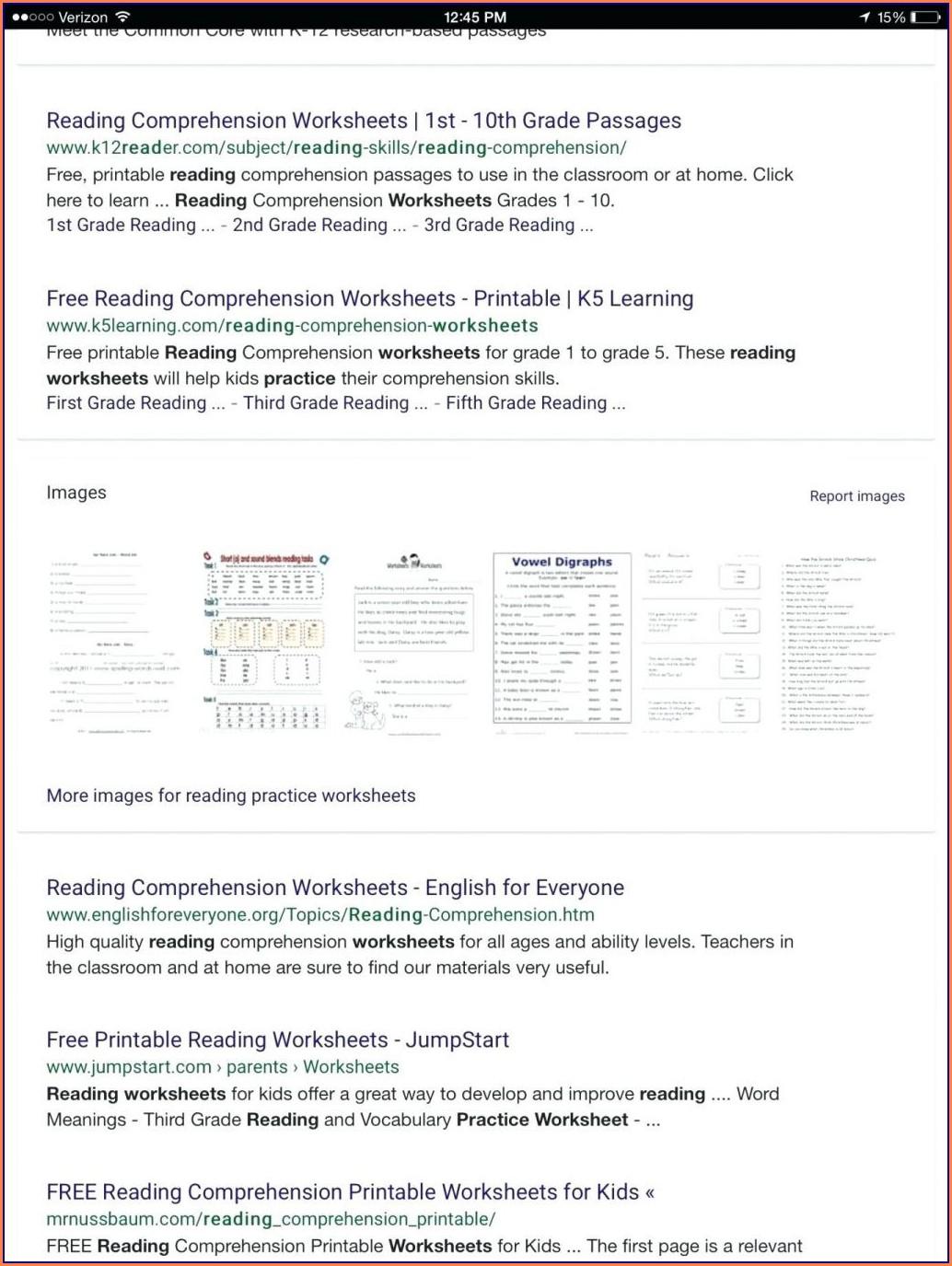 Pre Reading Vocabulary Worksheet