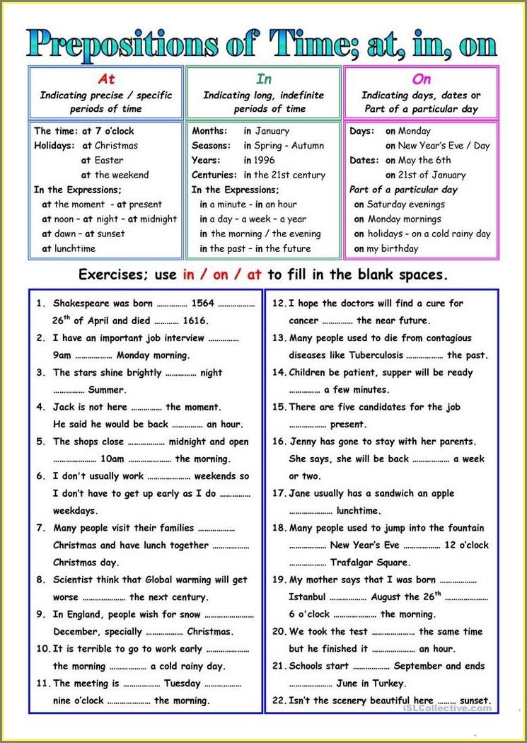 Prepositions Of Time Esl Worksheets