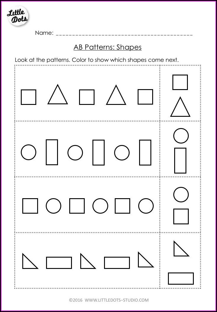 Preschool Pattern Preschool Pre K Math Worksheets