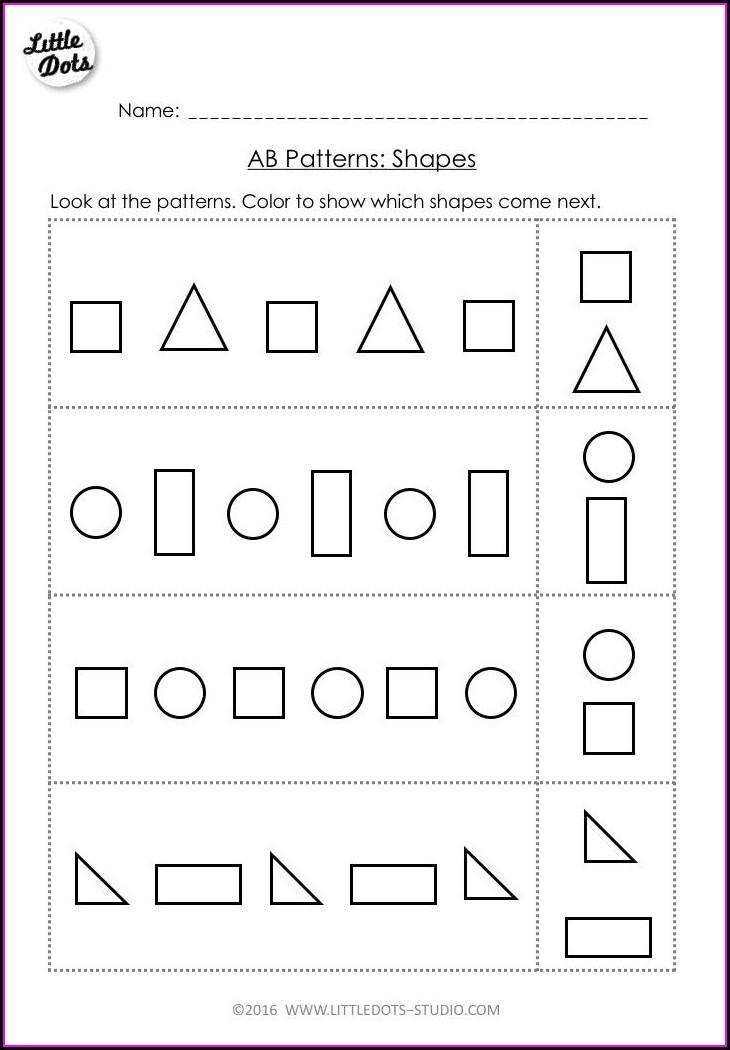 Preschool Pattern Preschool Pre K Math Worksheets