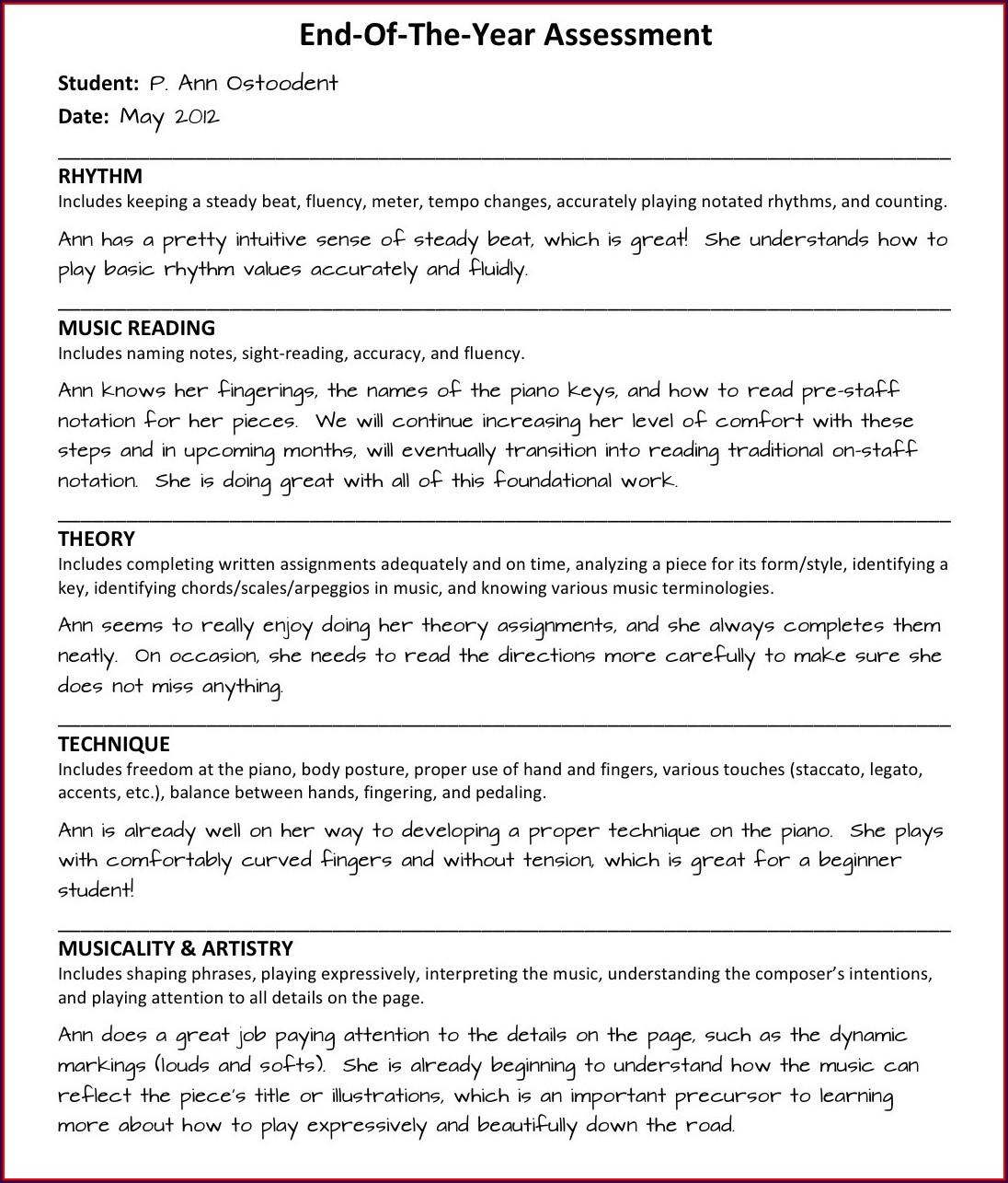 Preschool Printable Progress Reports