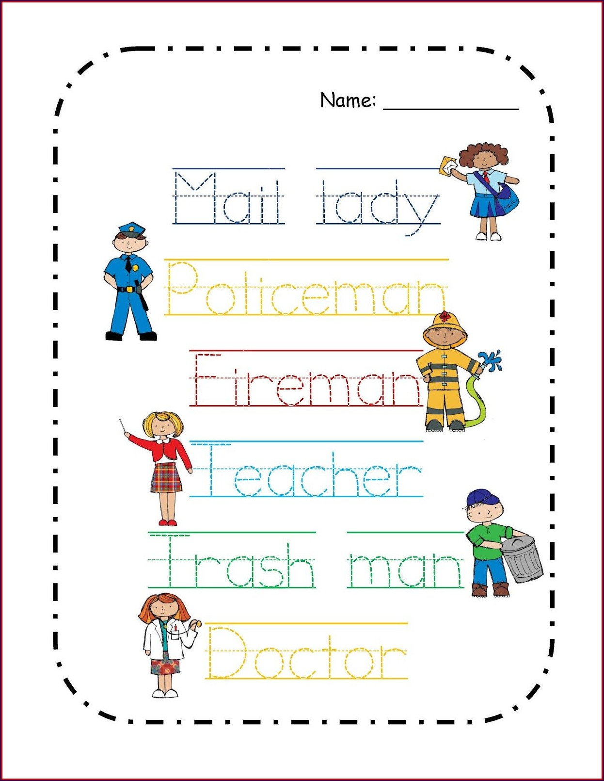 Preschool Worksheet Community Helpers
