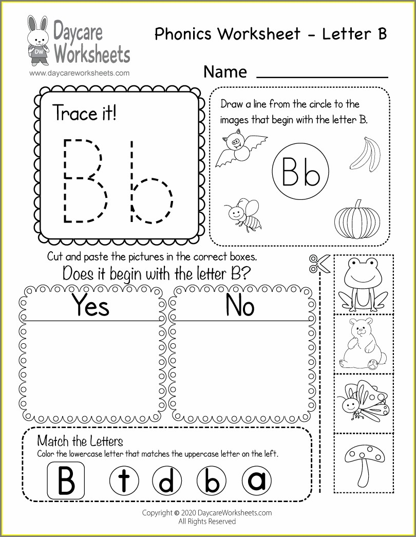 Preschool Worksheet For Letter B