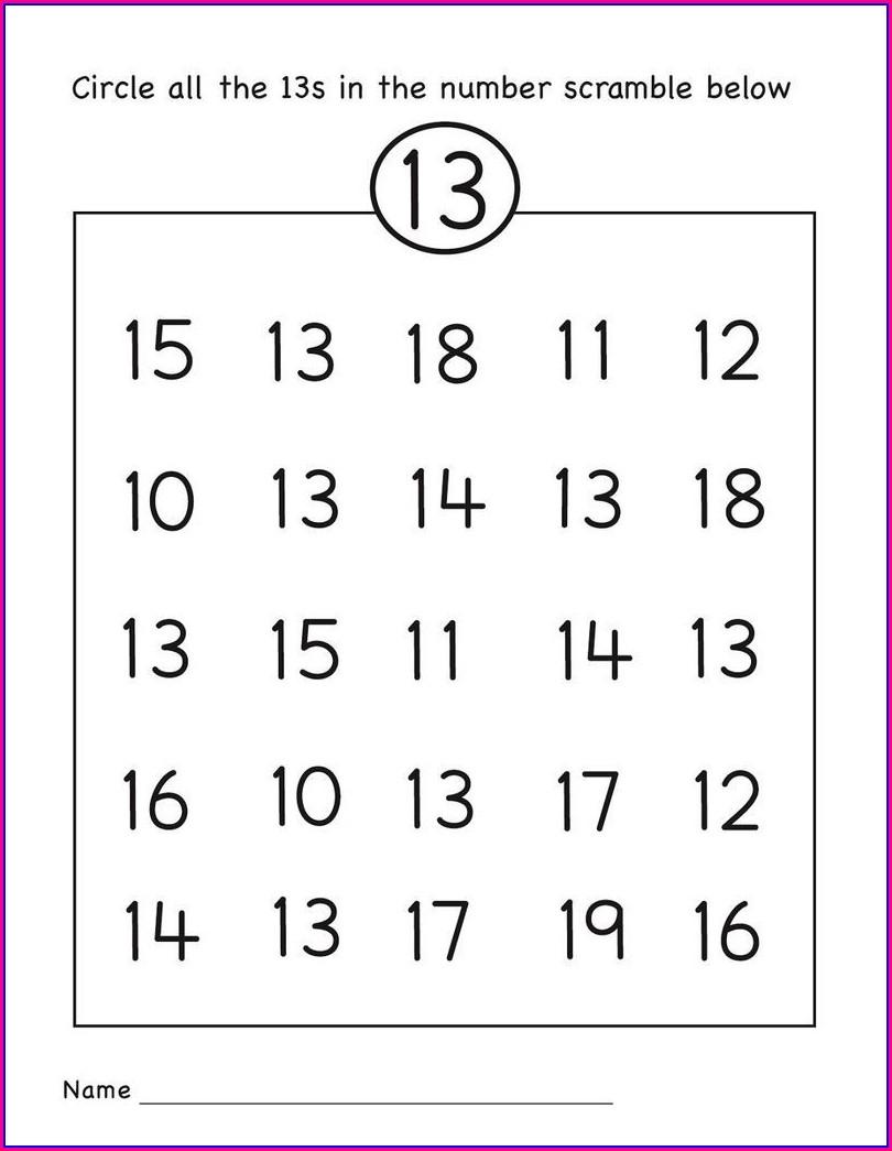 Preschool Worksheet Number 13