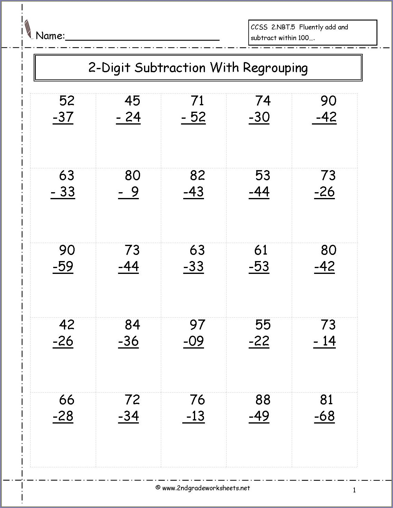 Printable 2nd Grade Math Facts Worksheets