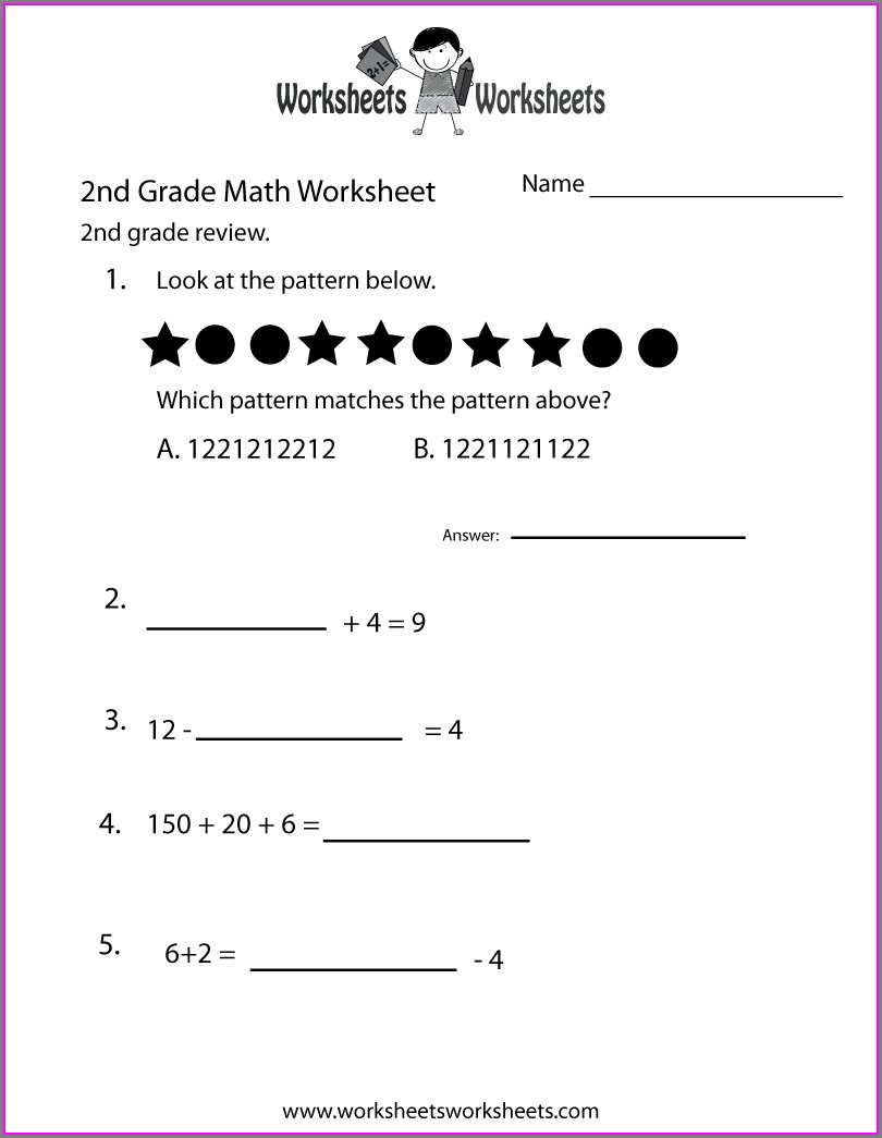 Printable 2nd Grade Math Worksheet