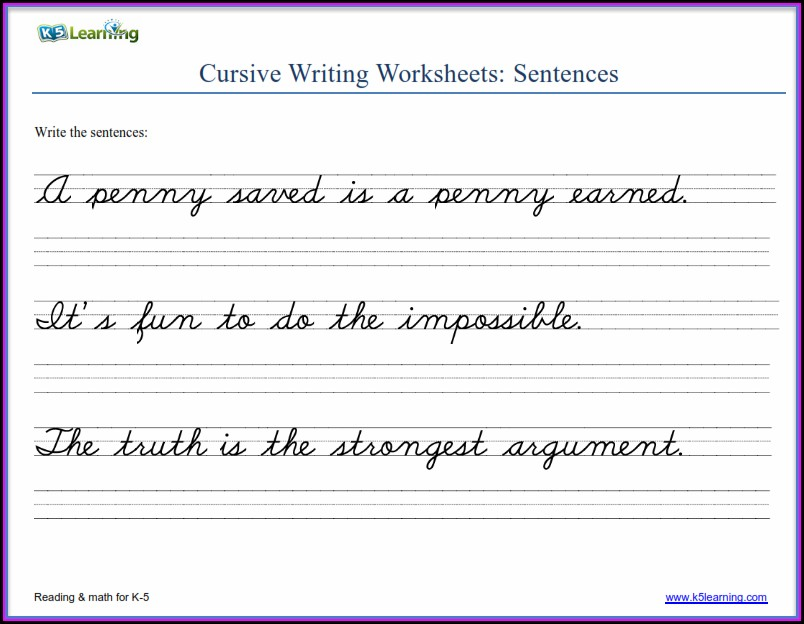 Printable 3rd Grade Cursive Writing Worksheets Pdf