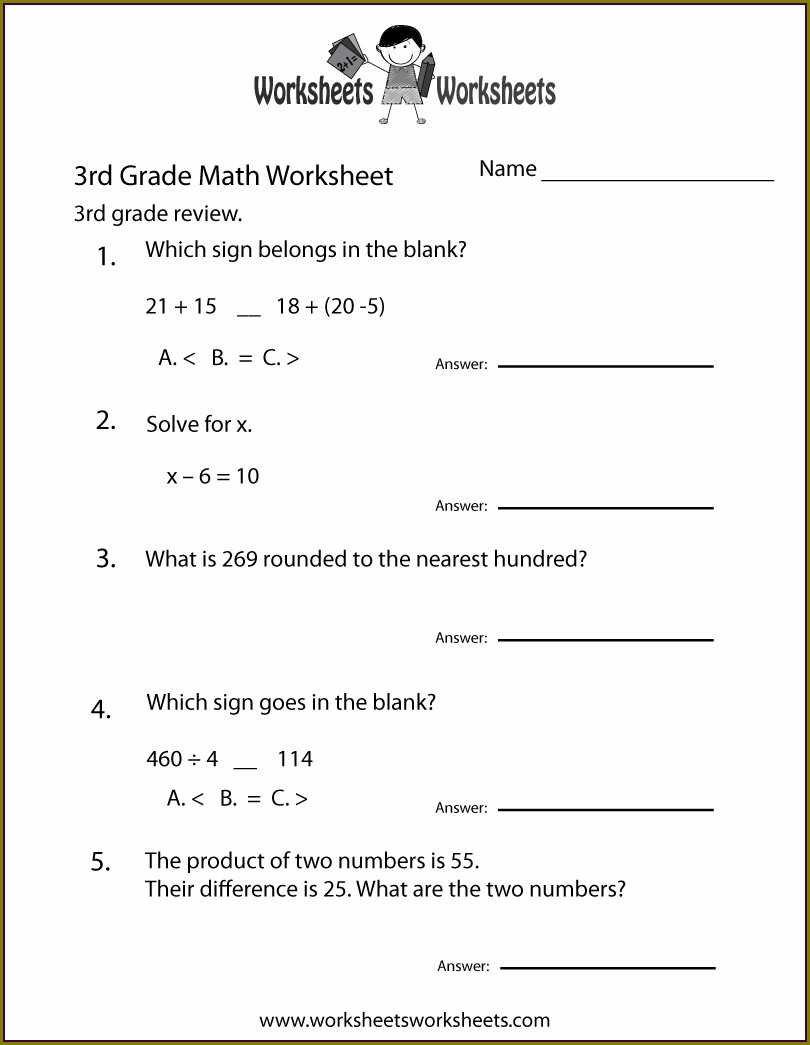 Printable 3rd Grade Math Worksheet