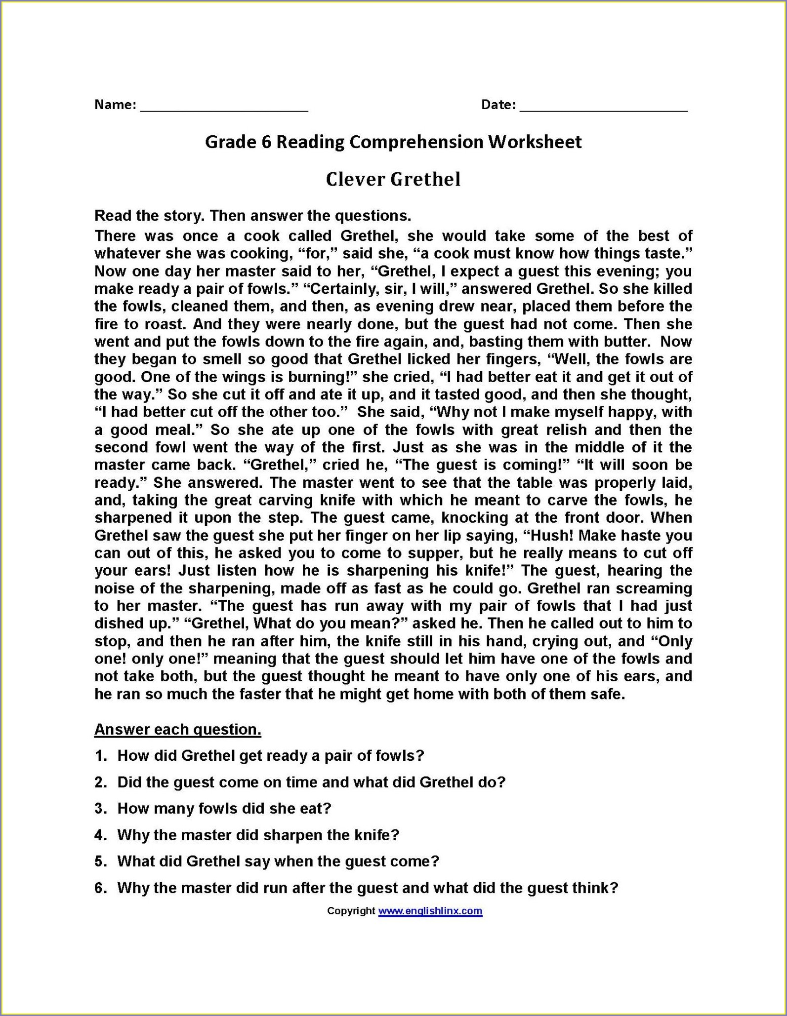 Printable 3rd Grade Printable Reading Comprehension Worksheets For Grade 3 Pdf
