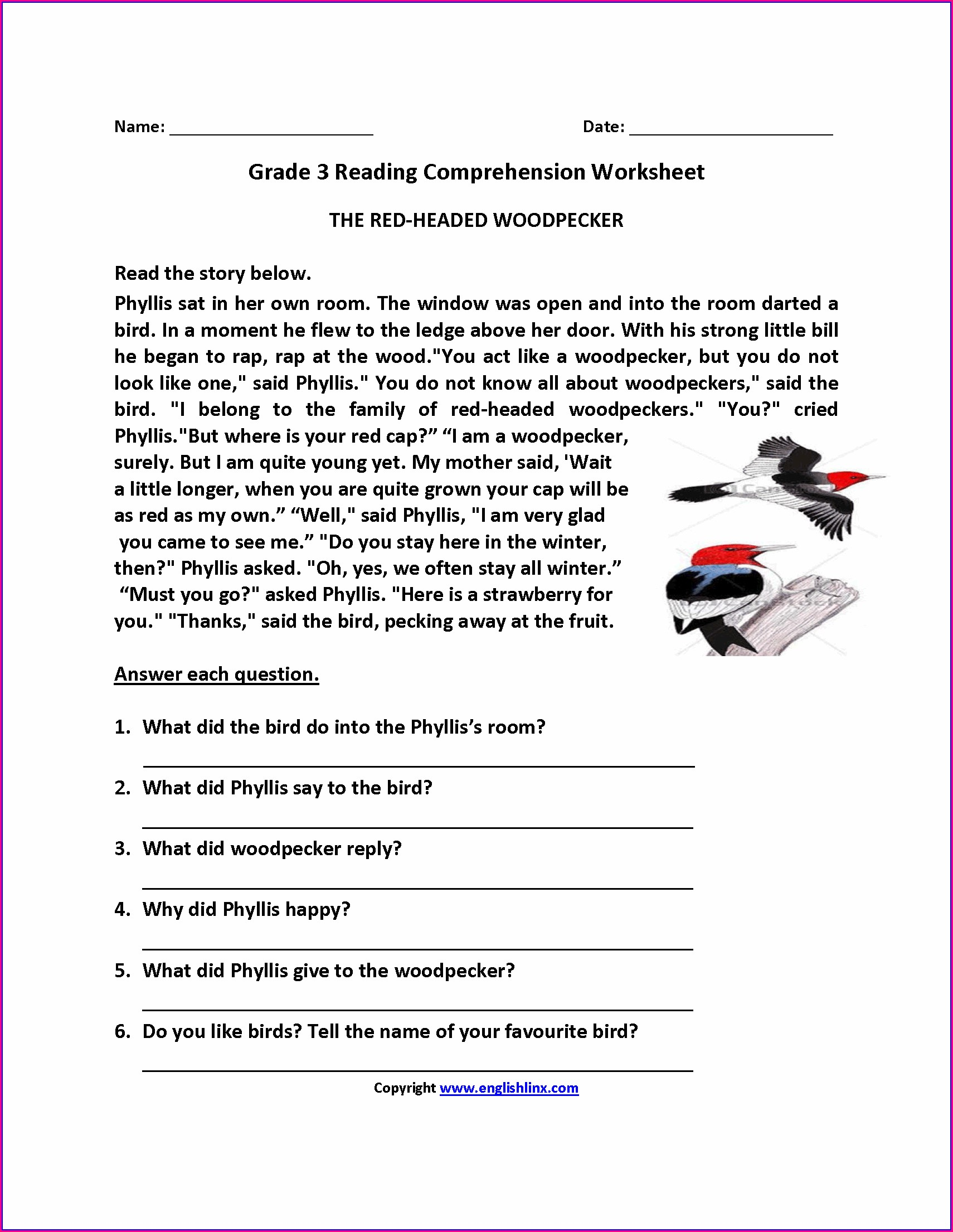 Printable 3rd Grade Reading And Writing Worksheets