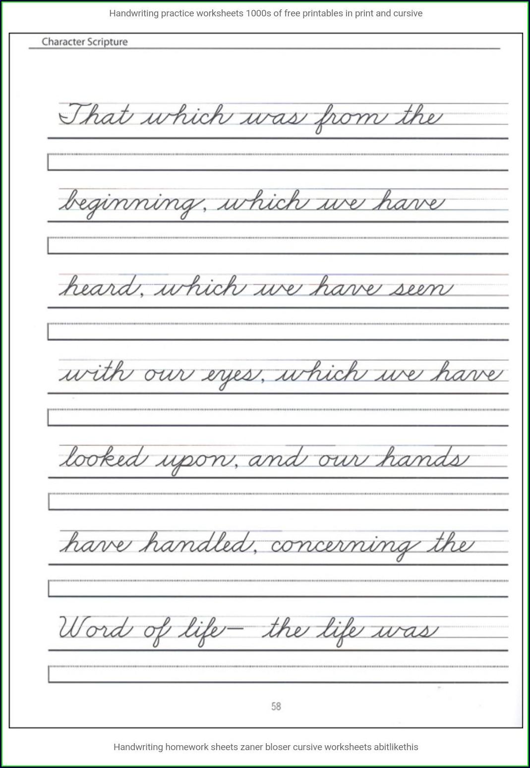 Printable 4th Grade Cursive Writing Worksheets Pdf