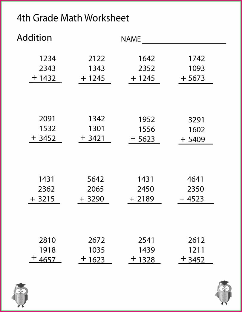 Printable 4th Grade Printable Grade 4 Math Worksheets