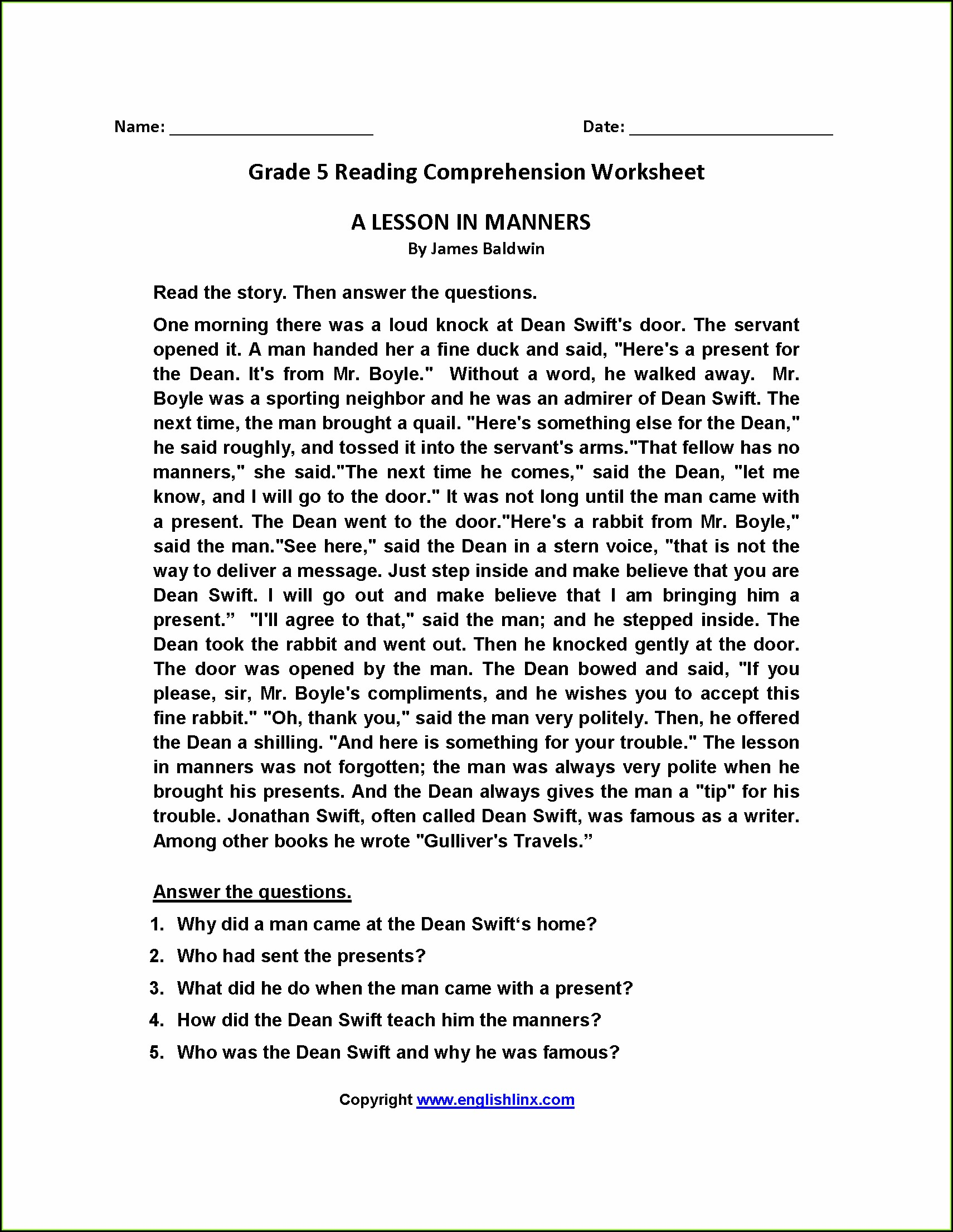 Printable 5th Grade Printable Comprehension Worksheets For Grade 5