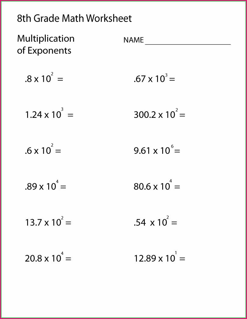 Printable 8th Grade Printable Grade 8 Math Worksheets