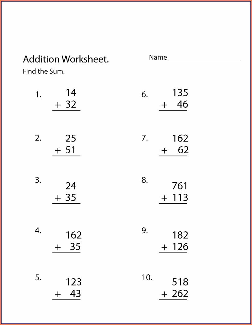 Printable Addition 3rd Grade Math Worksheets