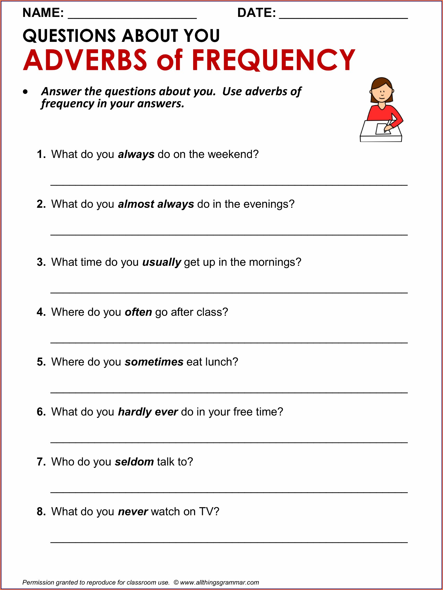Printable Adverbs Worksheets For Grade 5