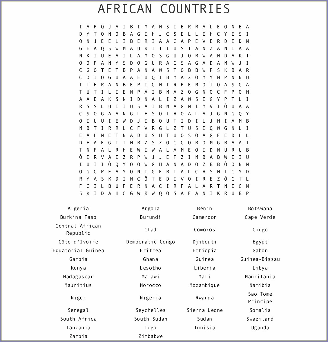 Printable African Countries Word Search