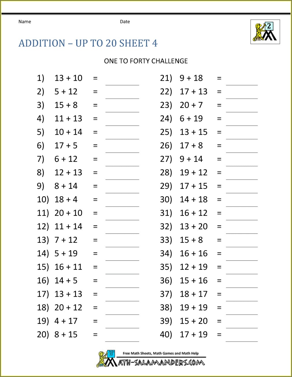Printable Basic Math Facts Worksheets