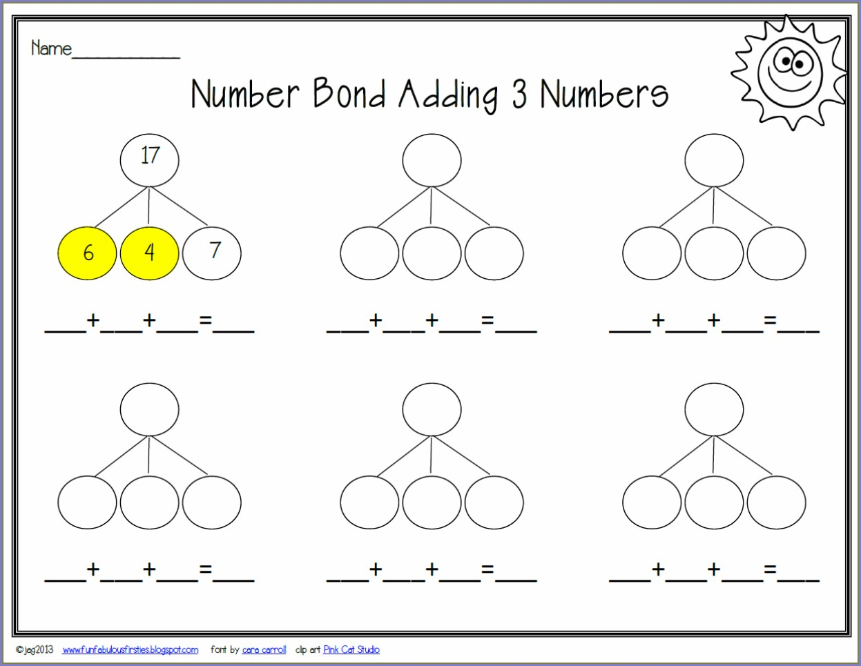 Printable Blank Number Bond Worksheet