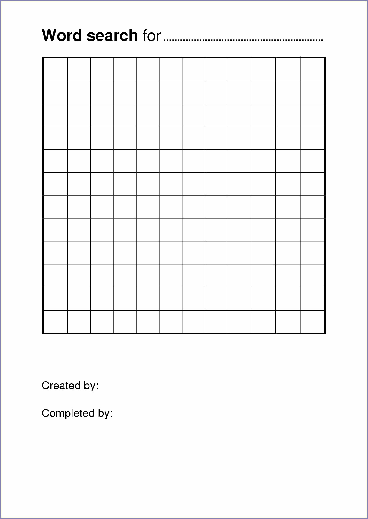 Printable Blank Word Search Grid Paper