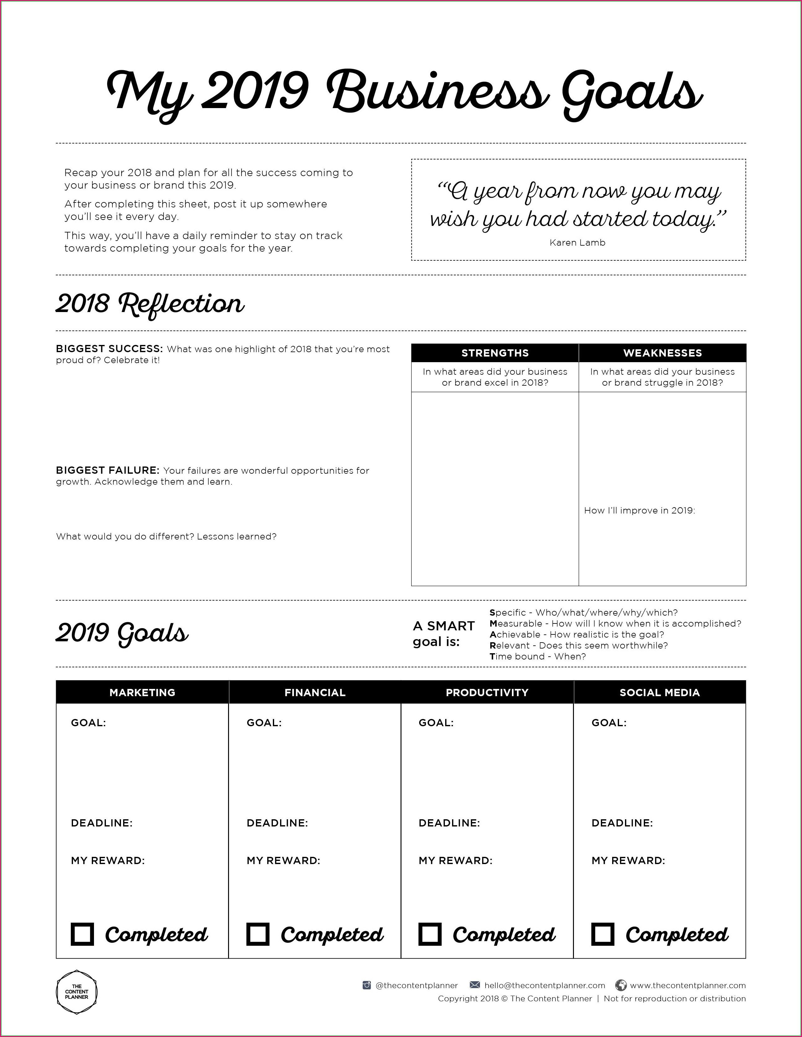 Printable Business Goal Setting Worksheet