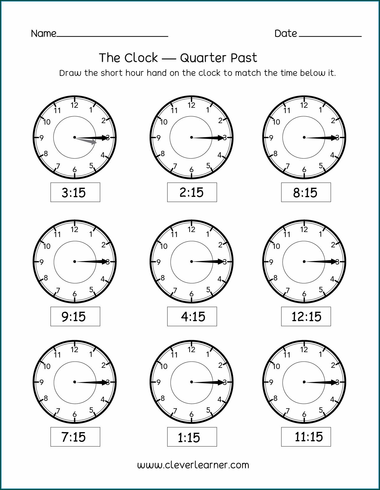 Printable Clock Worksheet Grade 2