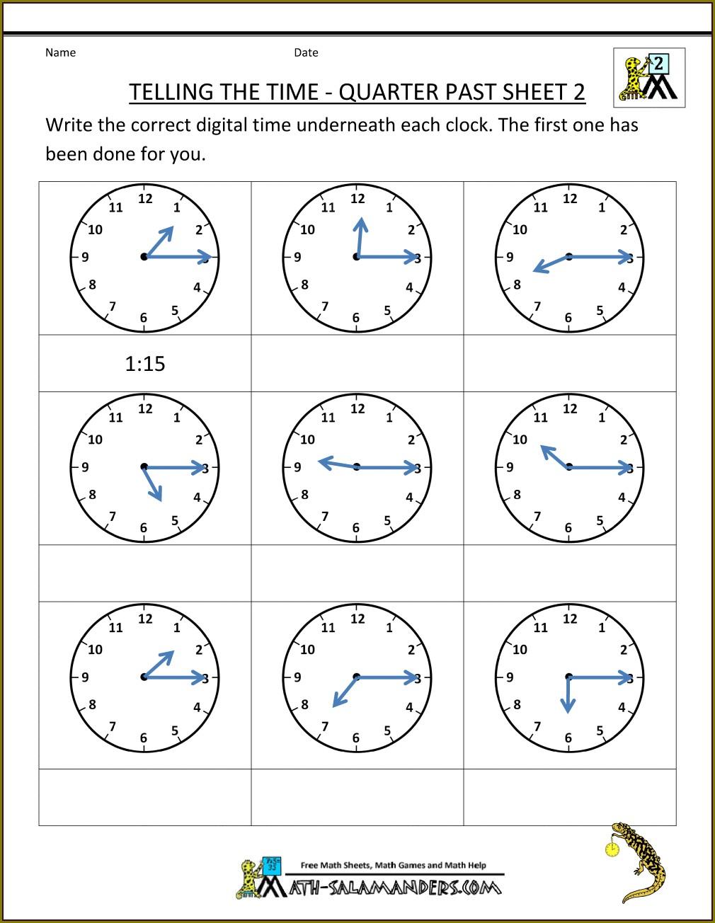 Printable Clock Worksheet Grade 4