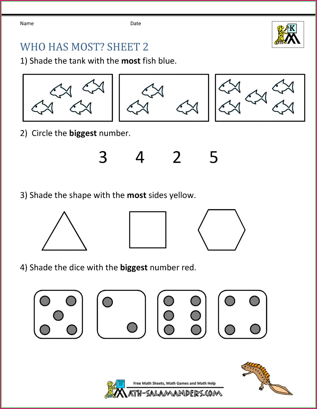 Printable Comparing Numbers Worksheets Kindergarten