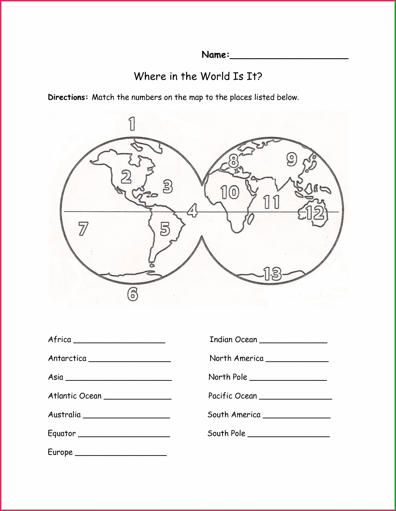Printable Continents And Oceans Worksheet