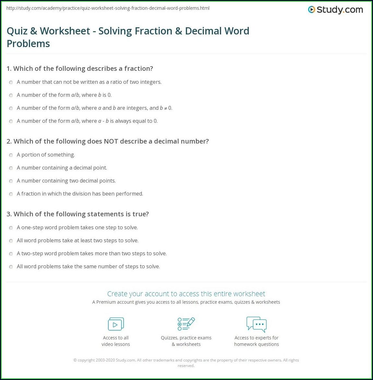 Printable Decimal Word Problem Worksheets