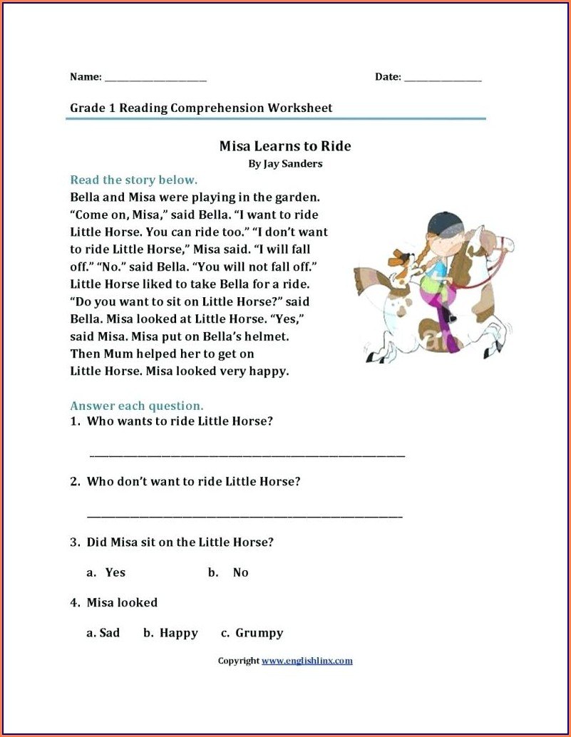 Printable First Grade Worksheets Reading