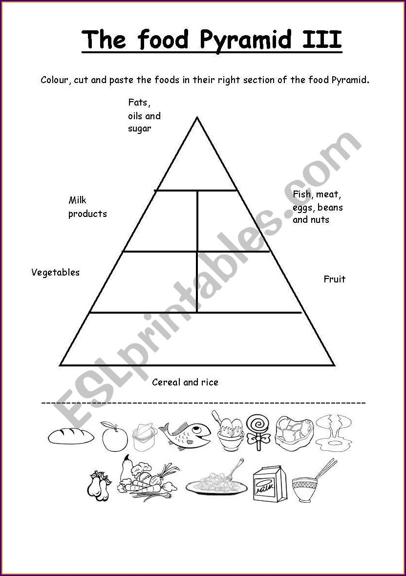 Printable Food Pyramid Worksheet Pdf