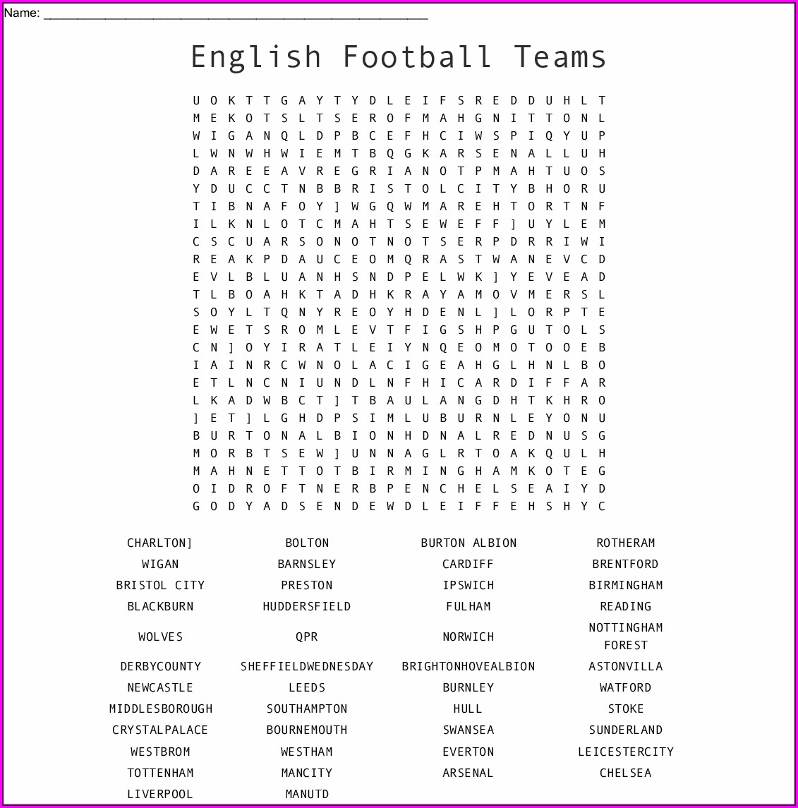 Printable Football Word Search Uk