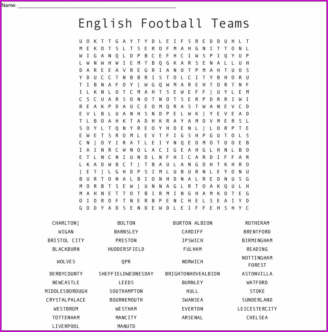 Printable Football Word Search Uk