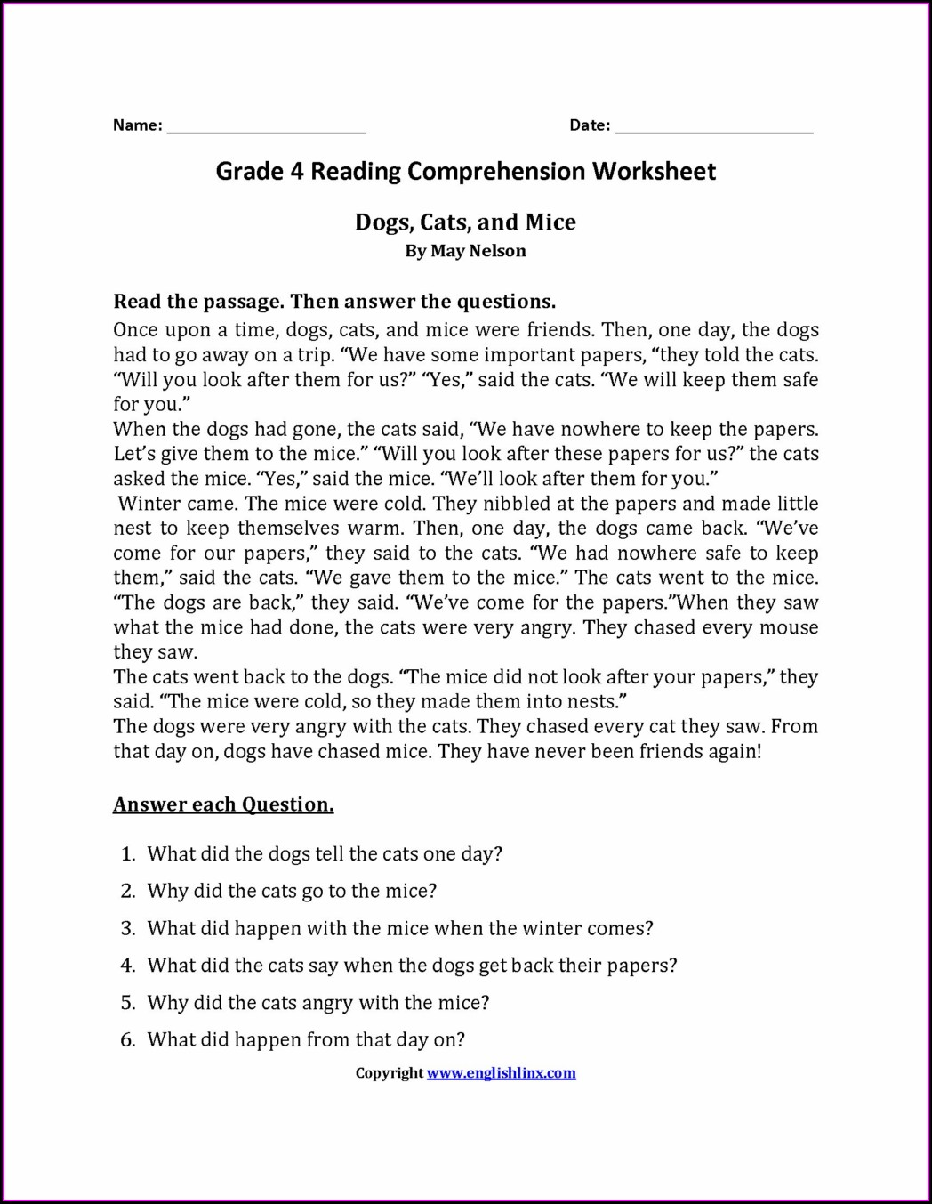 Printable Fourth Grade English Worksheets