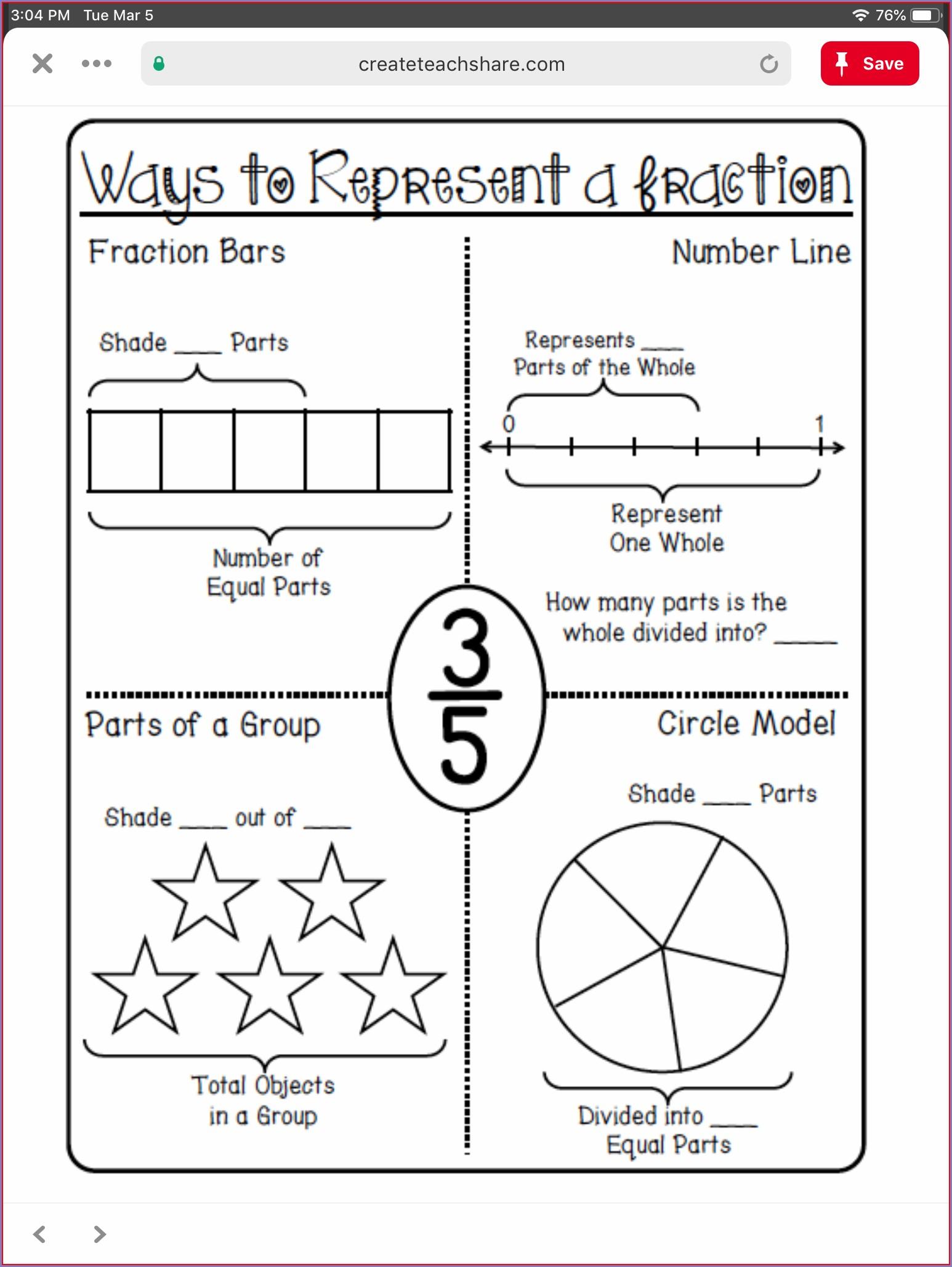 Printable Fractions Worksheet Grade 3