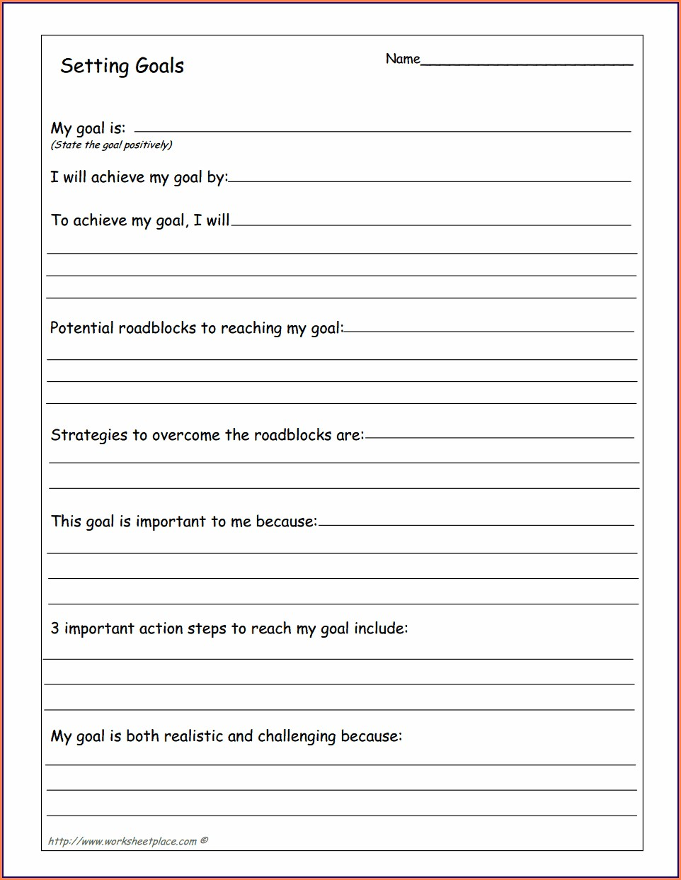 Printable Goal Setting Worksheet For High School Students Pdf