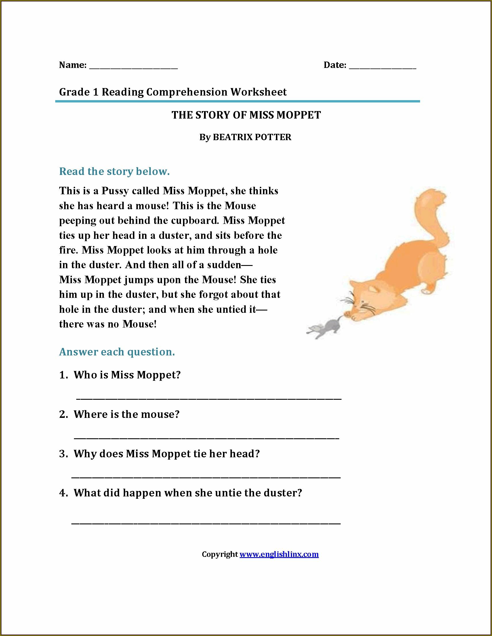 Printable Grade 1 Comprehension Worksheets
