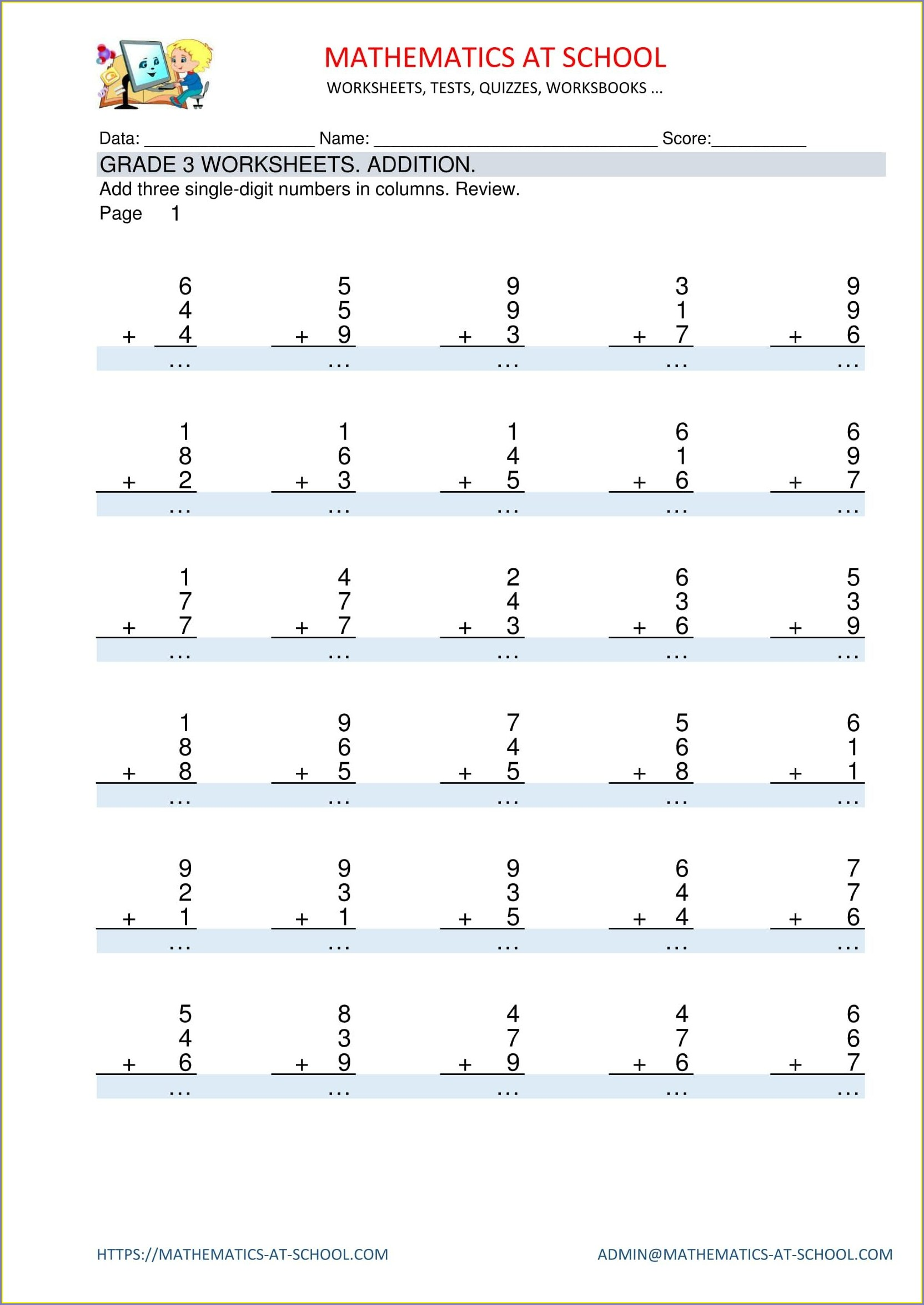 Printable Grade 3 Math Worksheets Addition And Subtraction