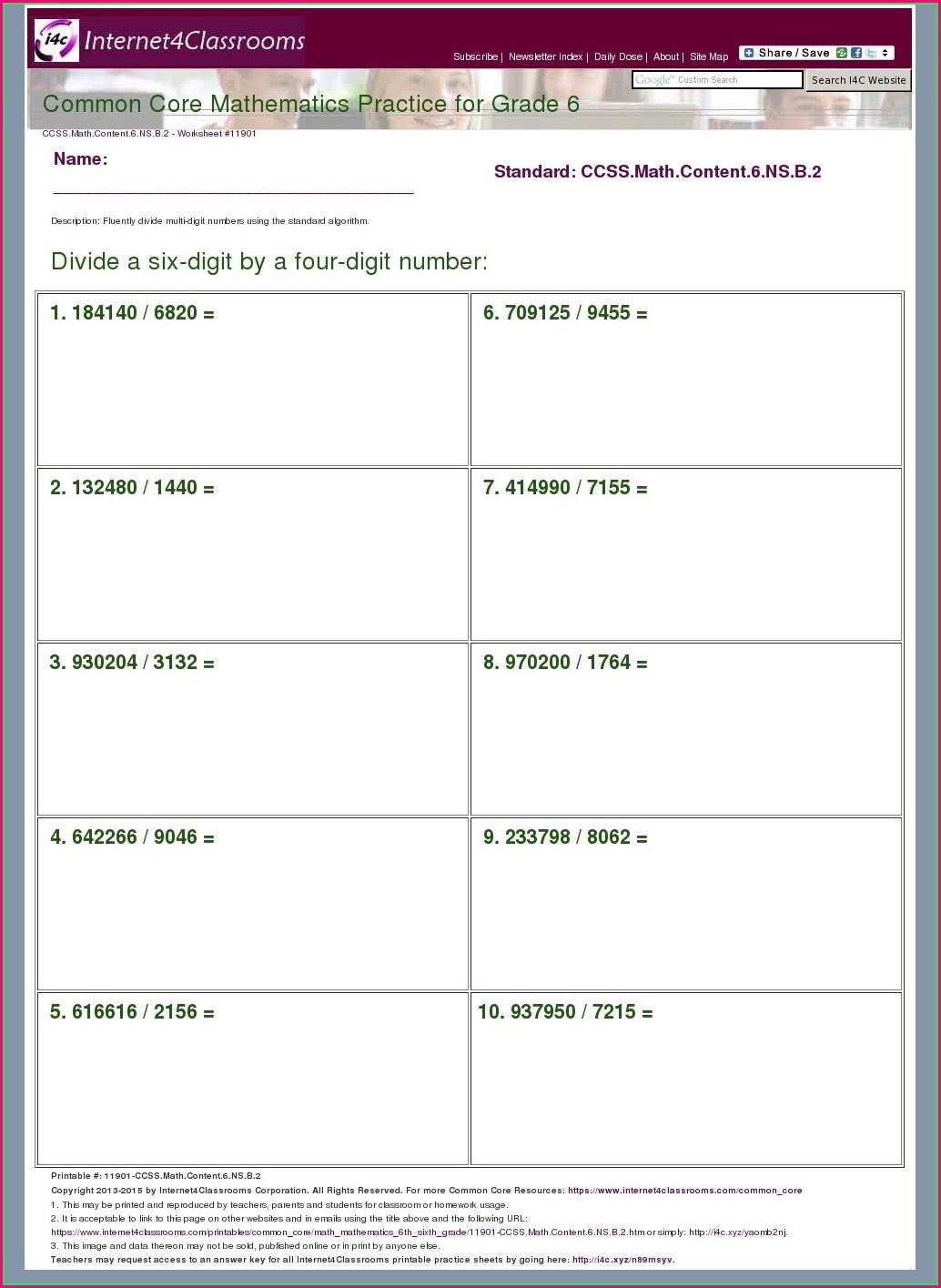 Printable Grade 6 Math Worksheets