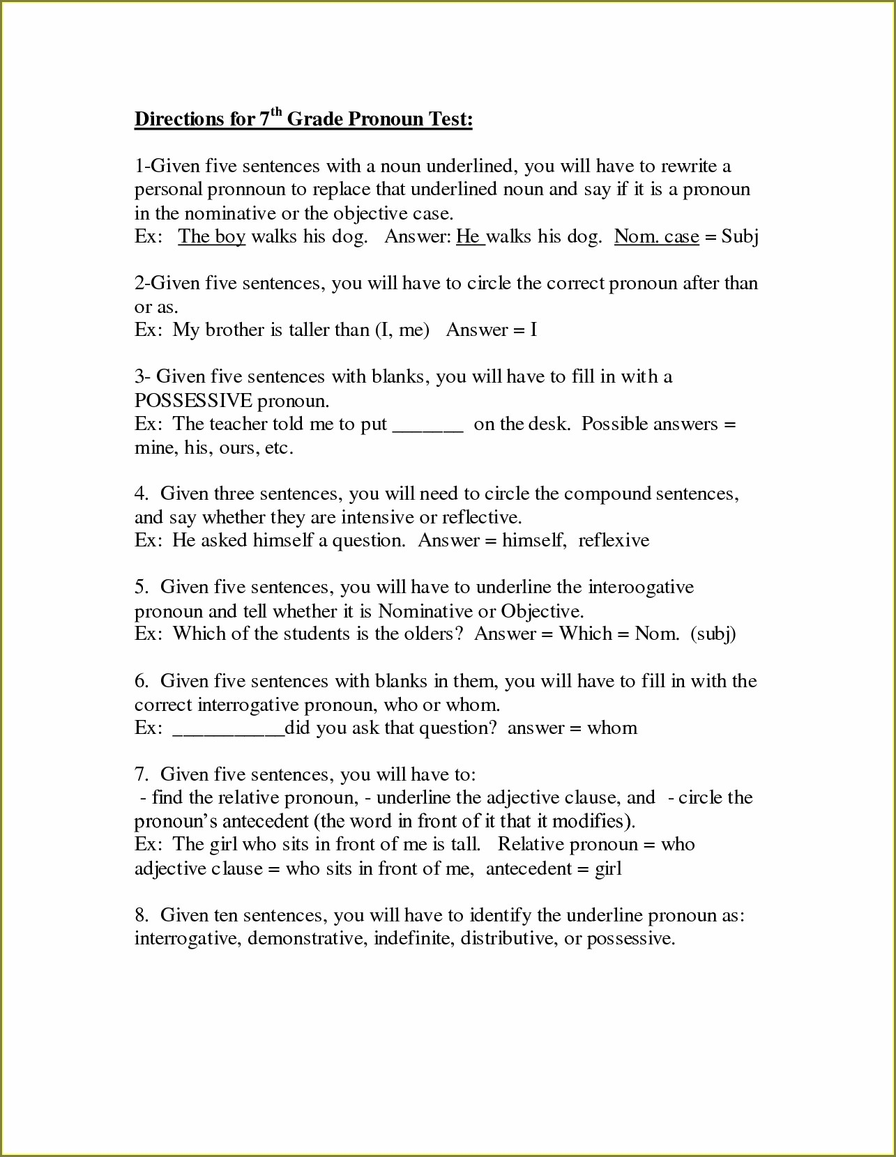 Printable Grade 7 English Worksheets With Answers