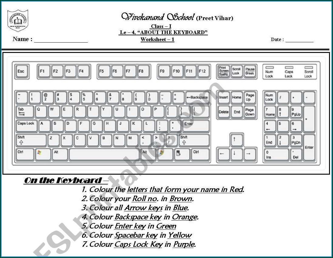 Printable Keyboard Worksheet For Grade 2
