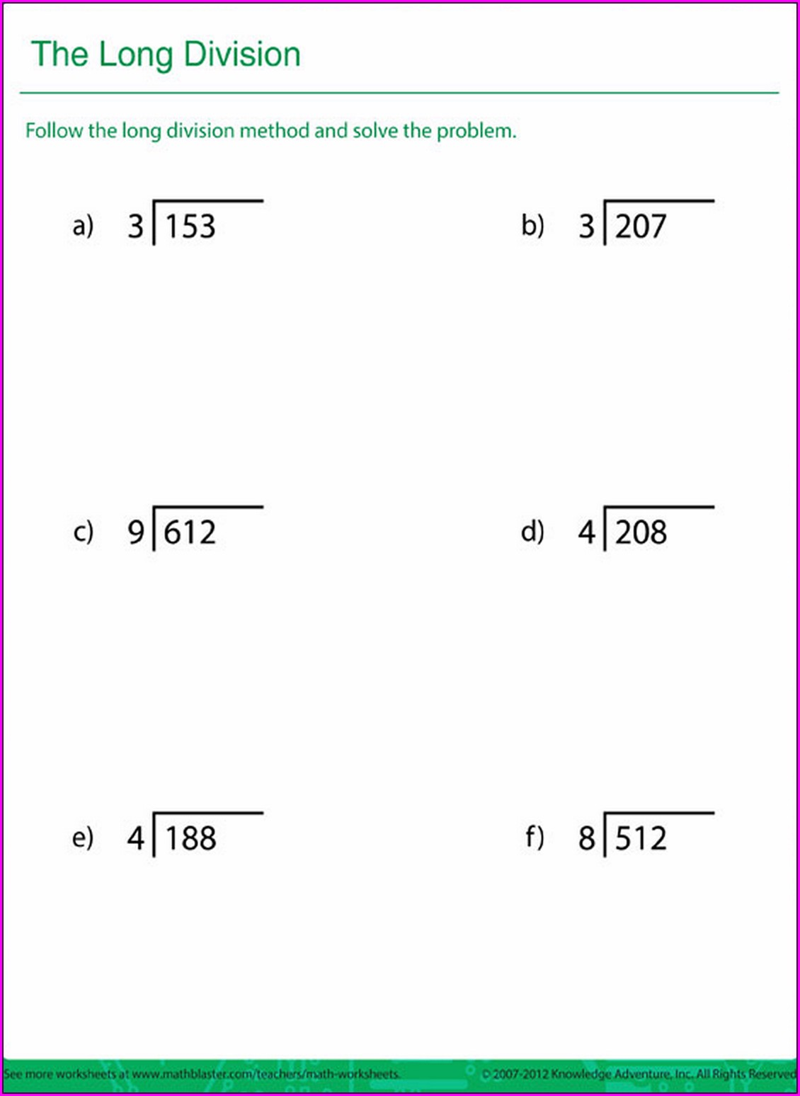 Printable Math Worksheet Grade 5