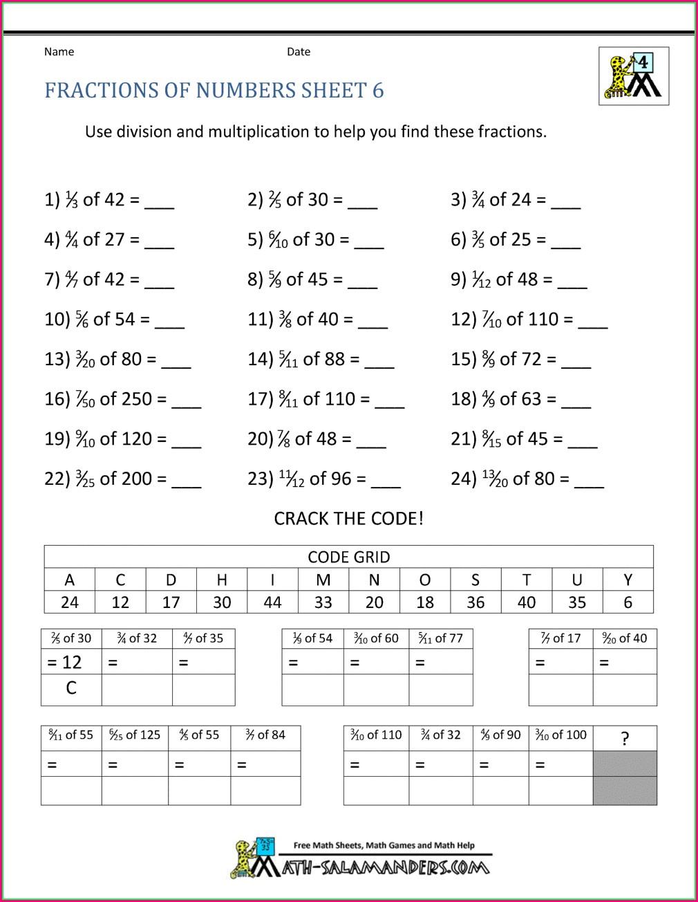 Printable Math Worksheets For Grade 6 Fractions