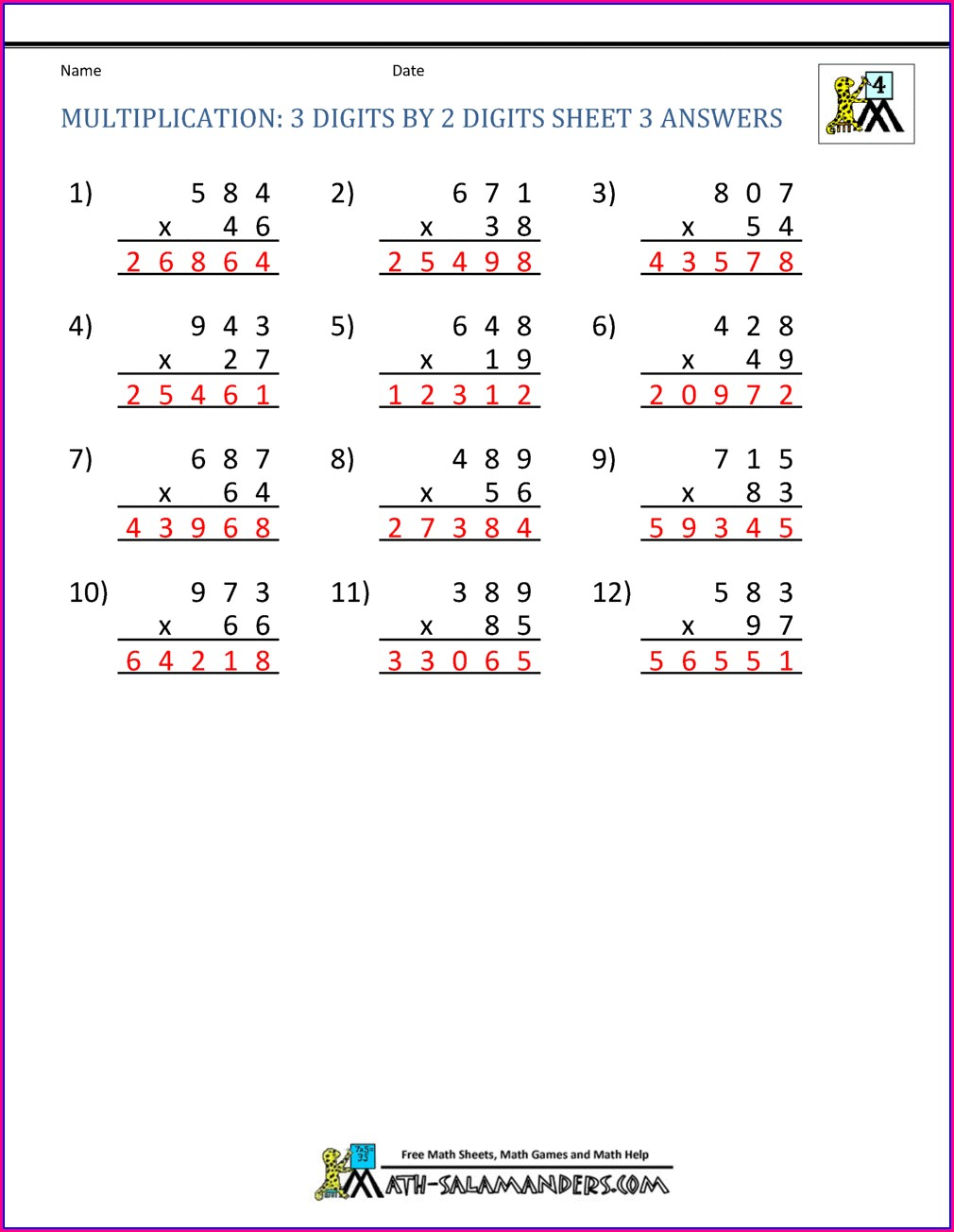 Printable Multiplication Worksheets Grade 4 Pdf