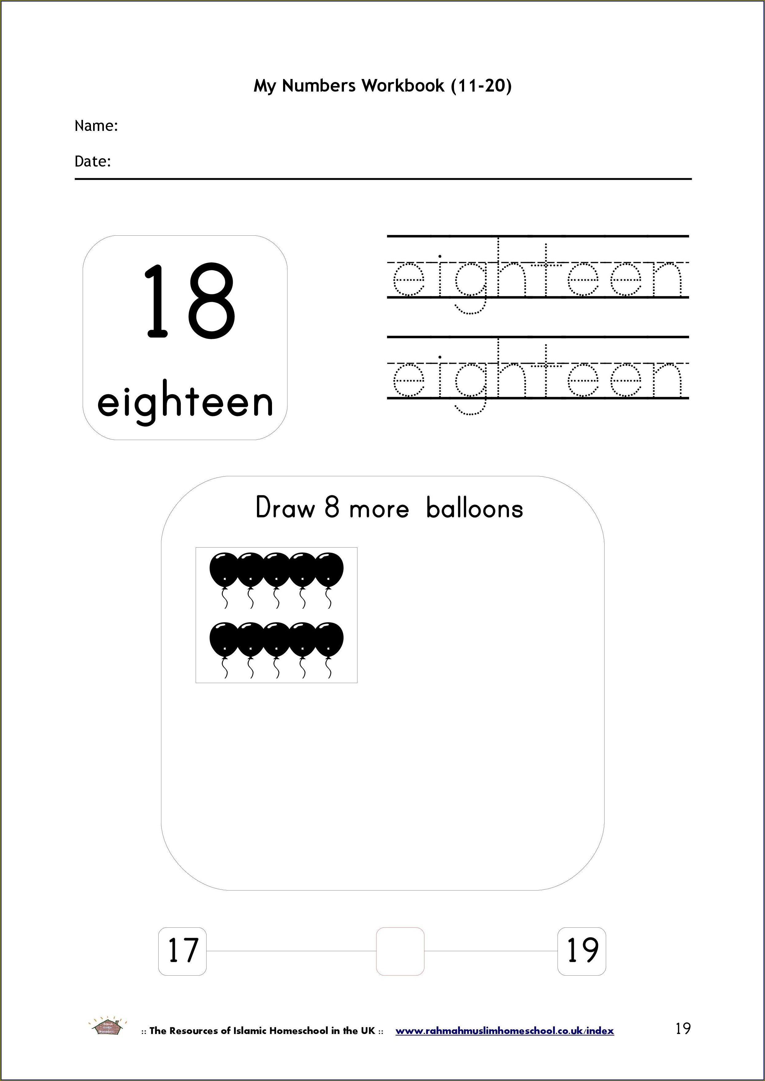 Printable Number 11 20 Worksheet