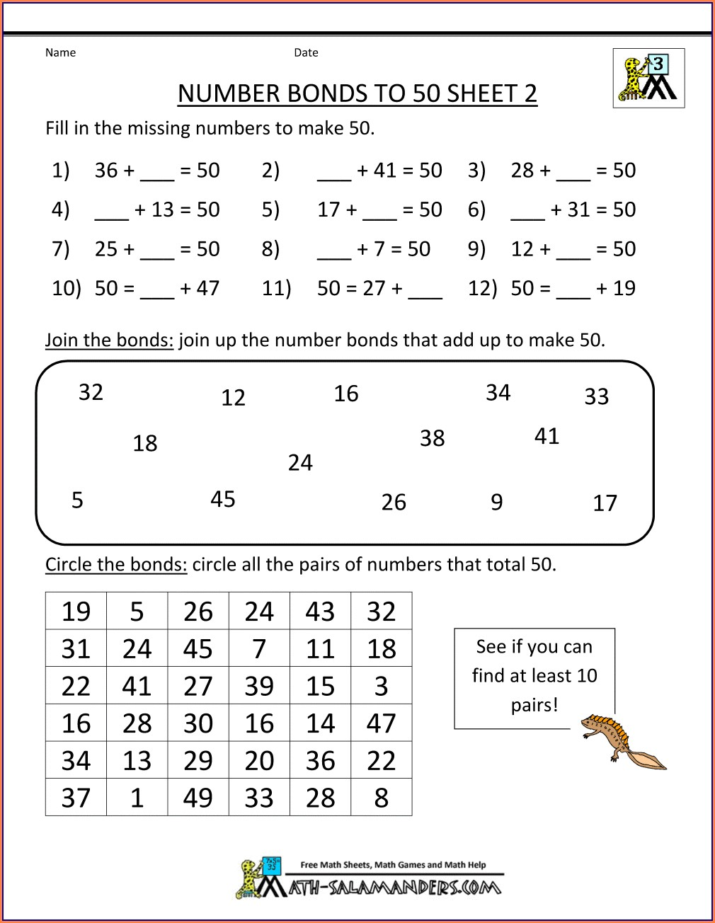Printable Number Bonds To 10 And 20 Worksheet