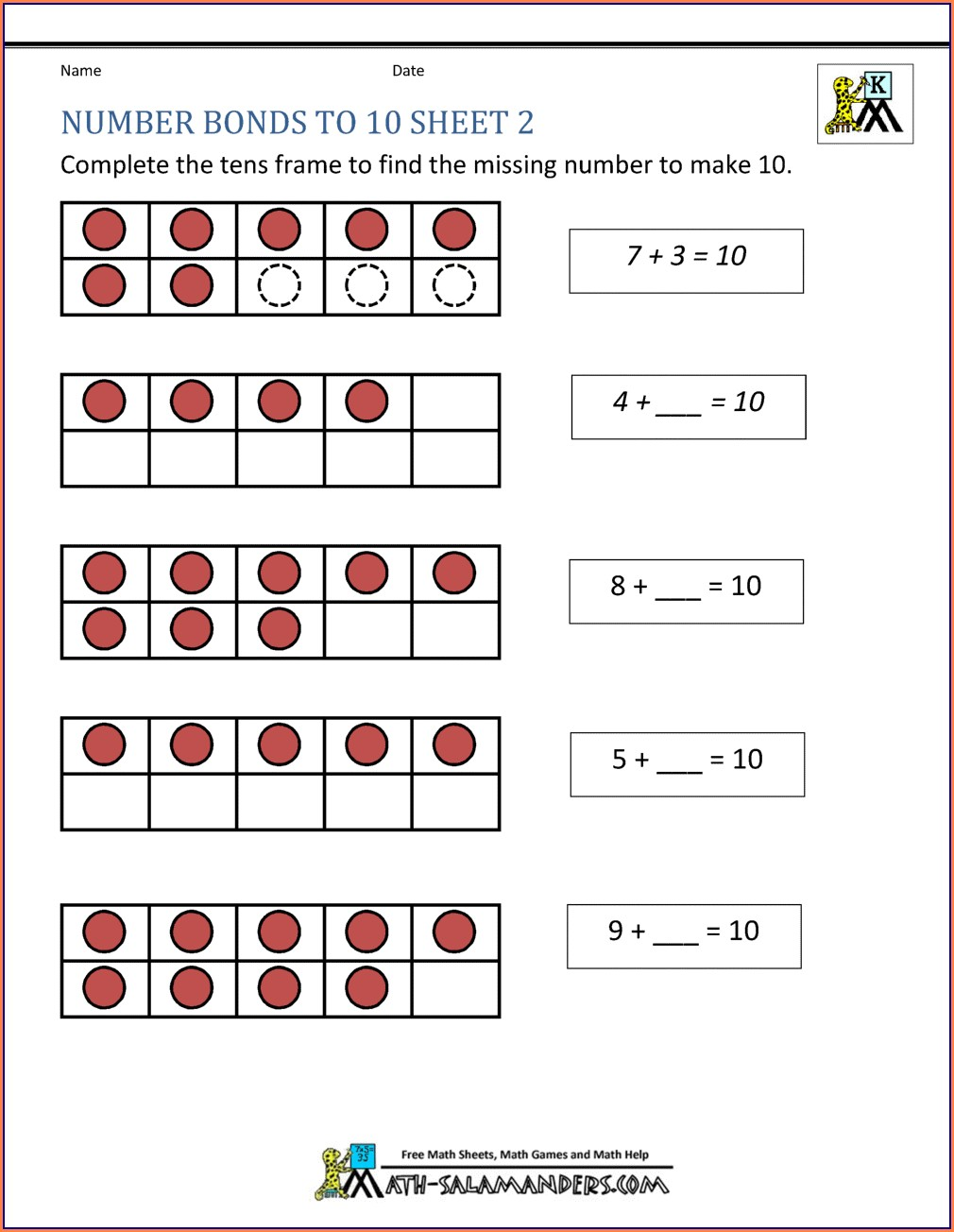 Printable Number Bonds To 10 Colouring Worksheet