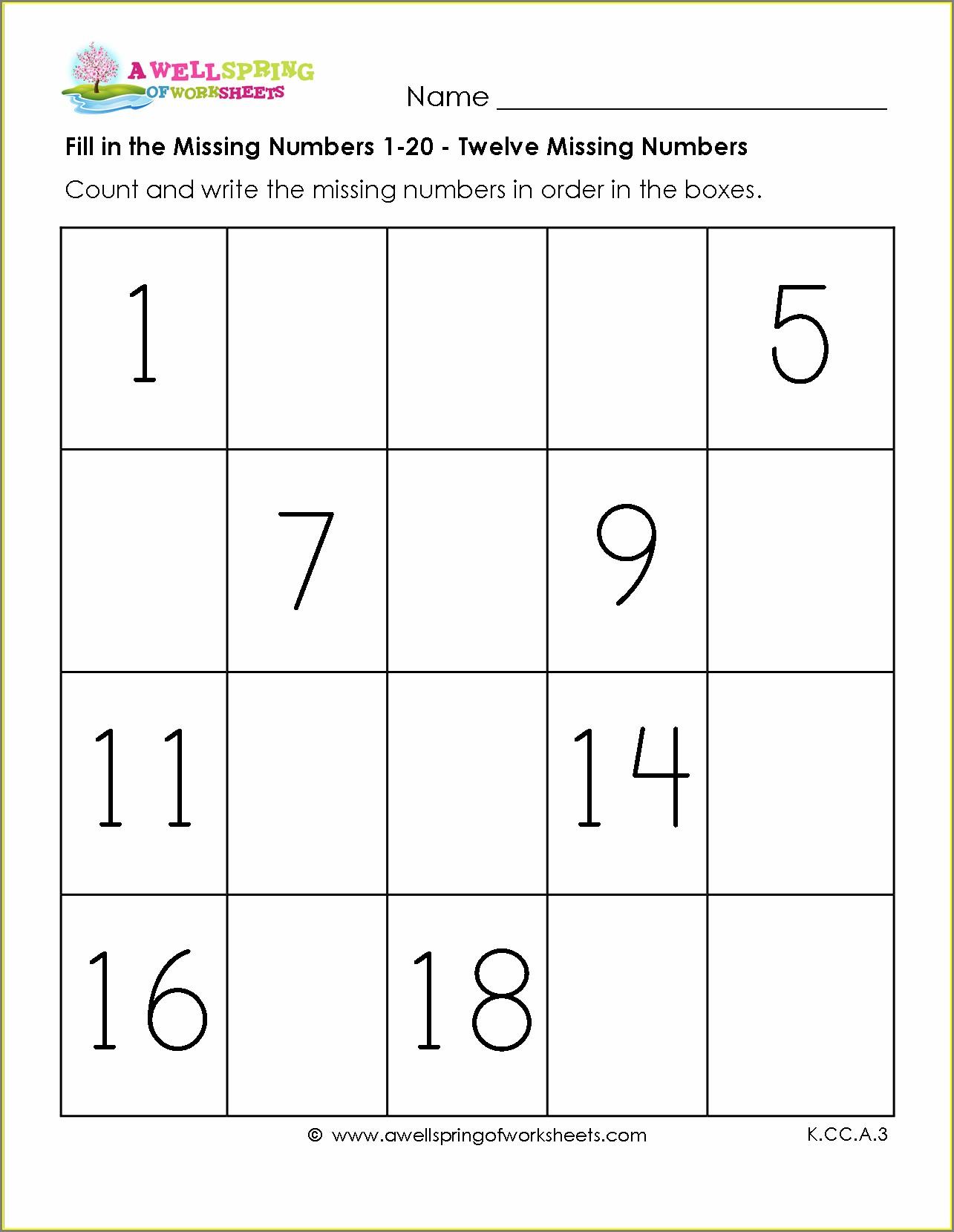 Printable Numbers To 20 Worksheet